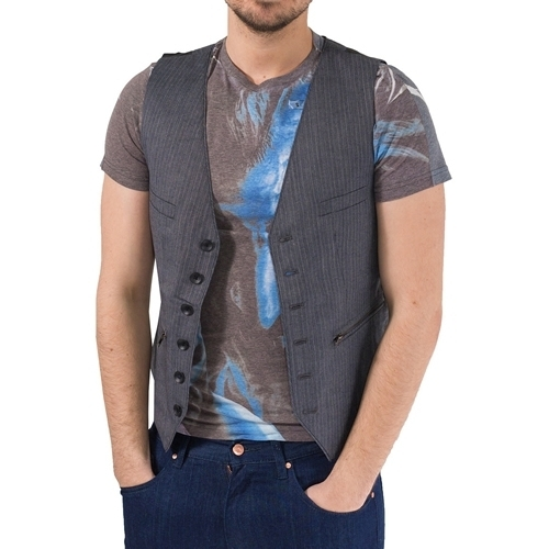 Vesta barbati Marc Ecko Cut Sew Charcoal Pinstriped Vest MECF12-06459