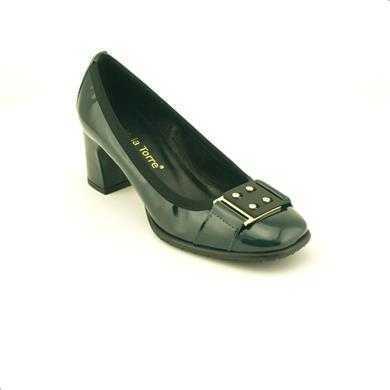 Pantofi Alberto la Torre verde inchis, din lac, cu toc de 5.5 cm