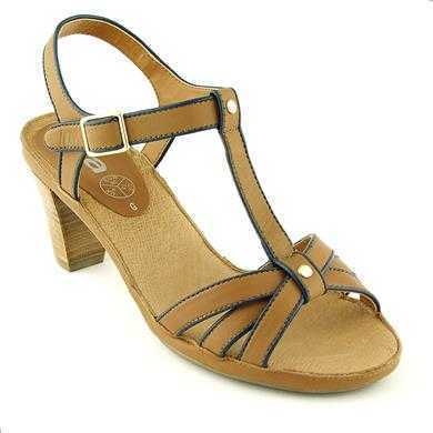 Sandale Ara coniac cu bleumarin din piele naturala