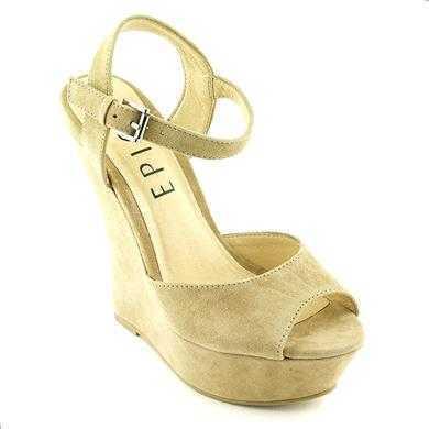 Sandale Epica bej din piele intoarsa, cu toc de 13.5 cm