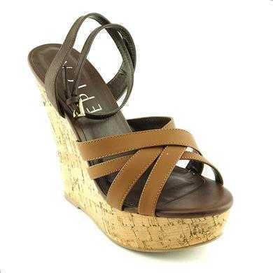 Sandale Epica maron din piele naturala, cu toc de 12.5 cm