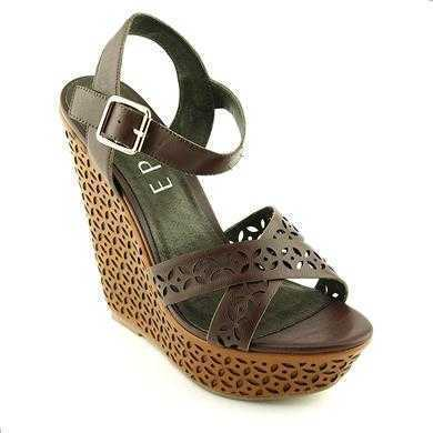 Sandale Epica maron din piele naturala, cu toc de 14 cm