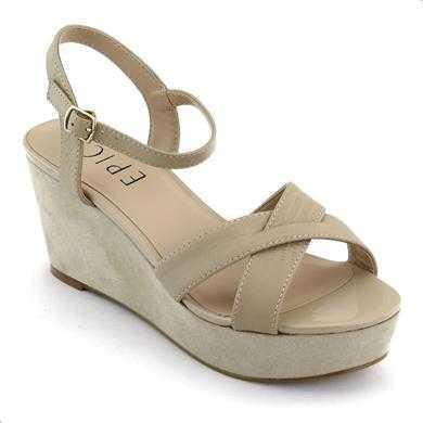 Sandale Epica nude, din piele naturala, cu toc de 7 cm