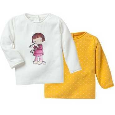 Set 2 tricouri cu maneca lunga pentru fete ENFANT DO