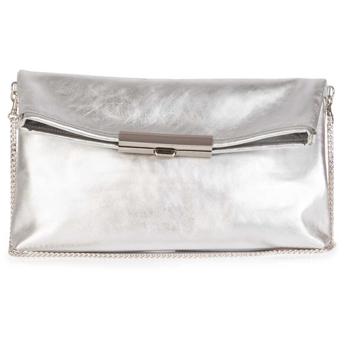 Plic argintiu din piele naturala model ZUK03