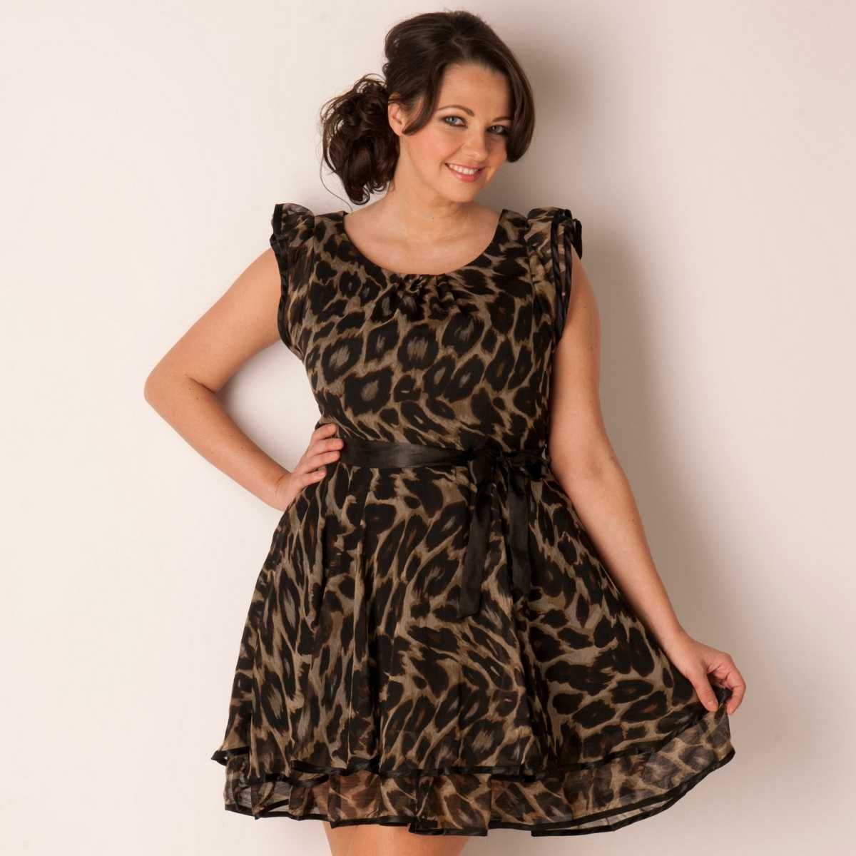 Rochie de ocazie plus size, din voal cu imprimeu animal - Ax Paris