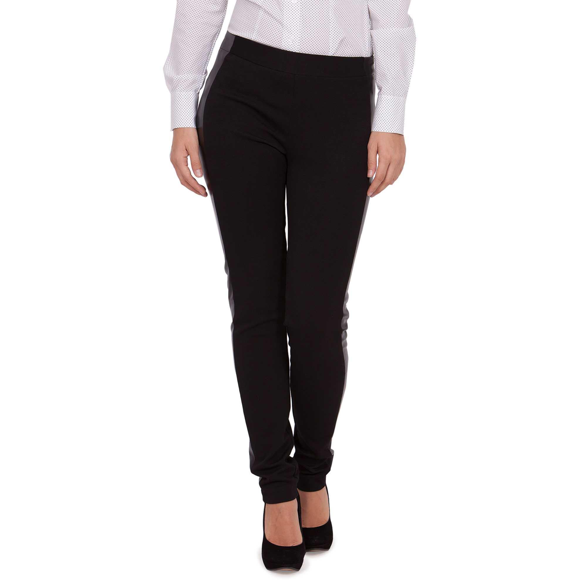 Pantaloni negri cu insertii de piele model WR04
