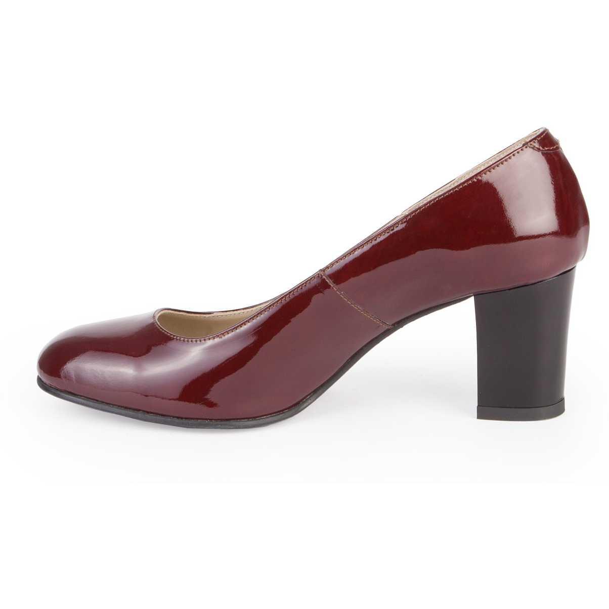 Pantofi bordo din piele lacuita P105