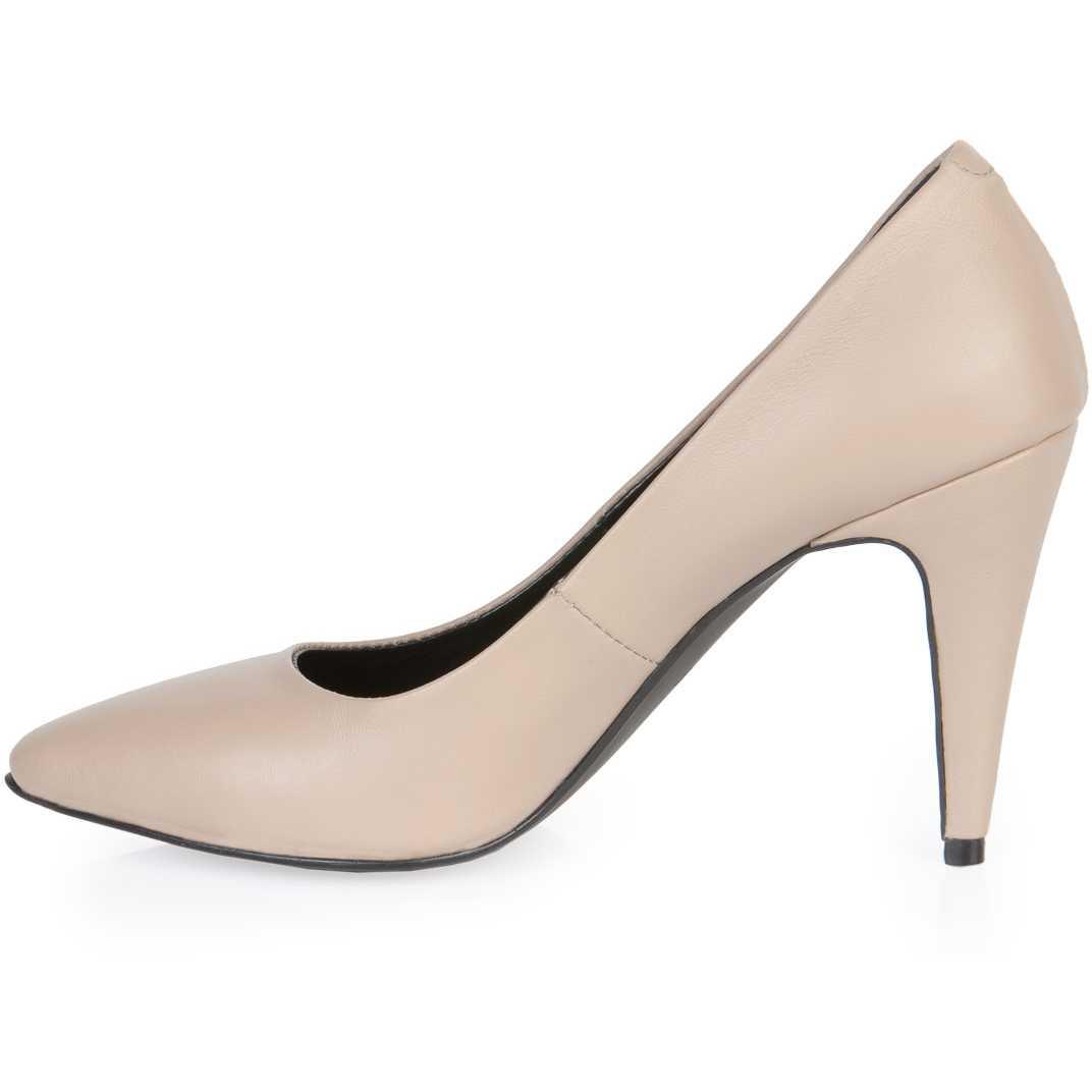 Pantofi stiletto bej din piele naturala NUDE
