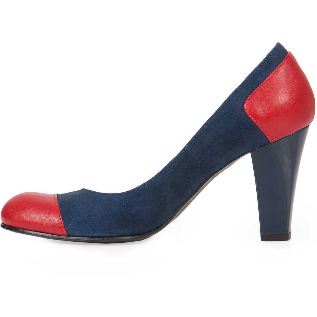 Pantofi albastru cu rosu cu toc inalt din piele naturala model P81