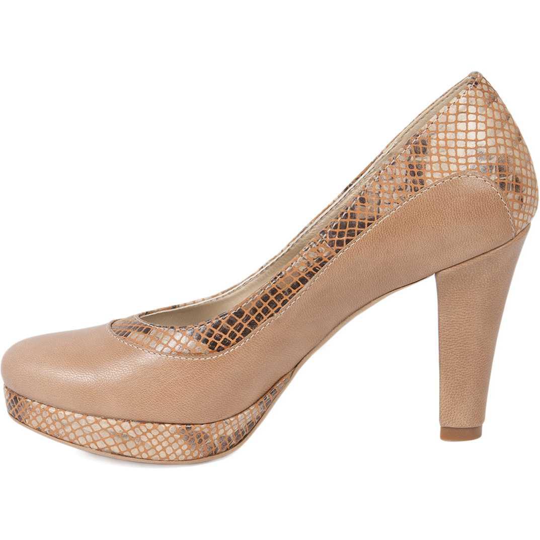 Pantofi bej cu toc inalt din piele naturala model 265