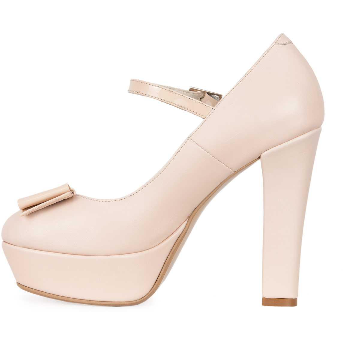 Pantofi bej cu toc inalt din piele naturala model PP-2308