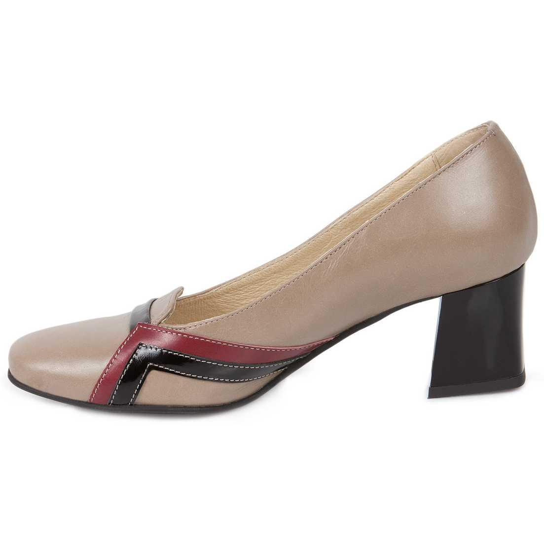 Pantofi kaki cu negru cu toc mic din piele naturala model 248