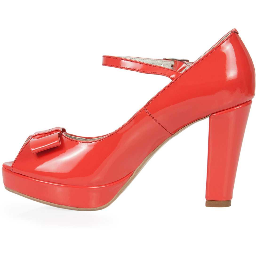 Pantofi peep-toe corai din piele lac model PP-5609
