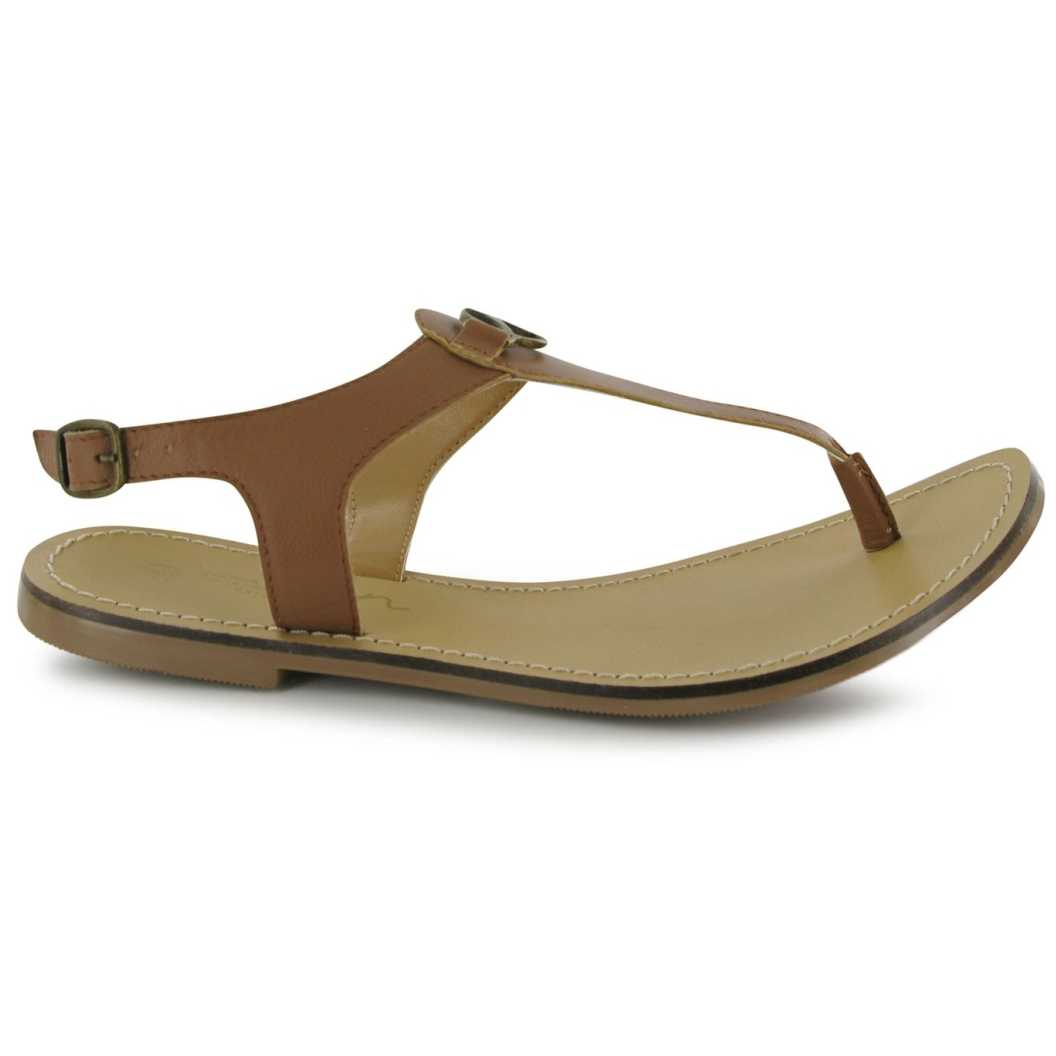 Sandale plate din piele naturala, de culoare maro-Kangol