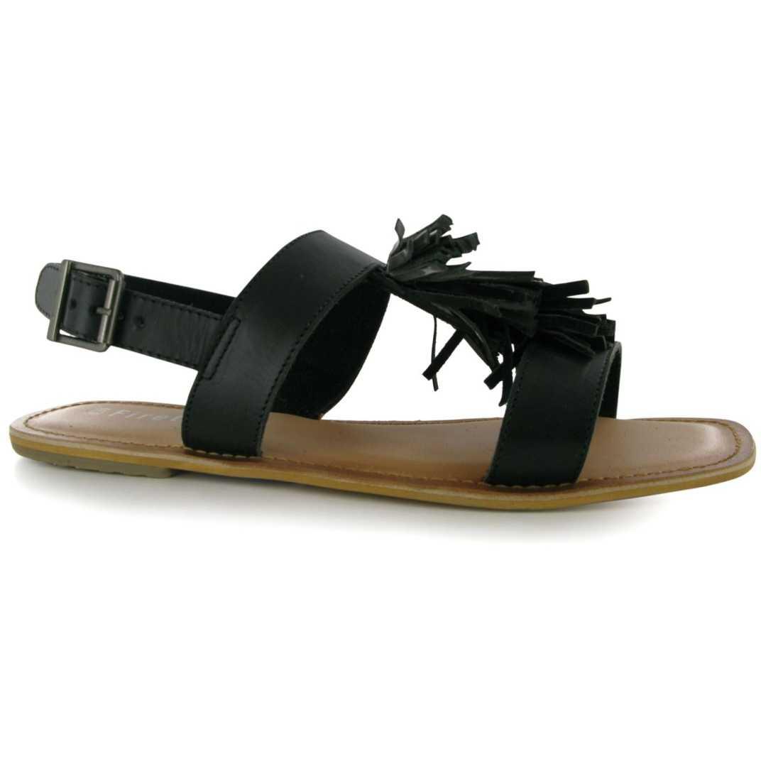 Sandale de culoare neagra, cu ciucure decorativ-Firetrap