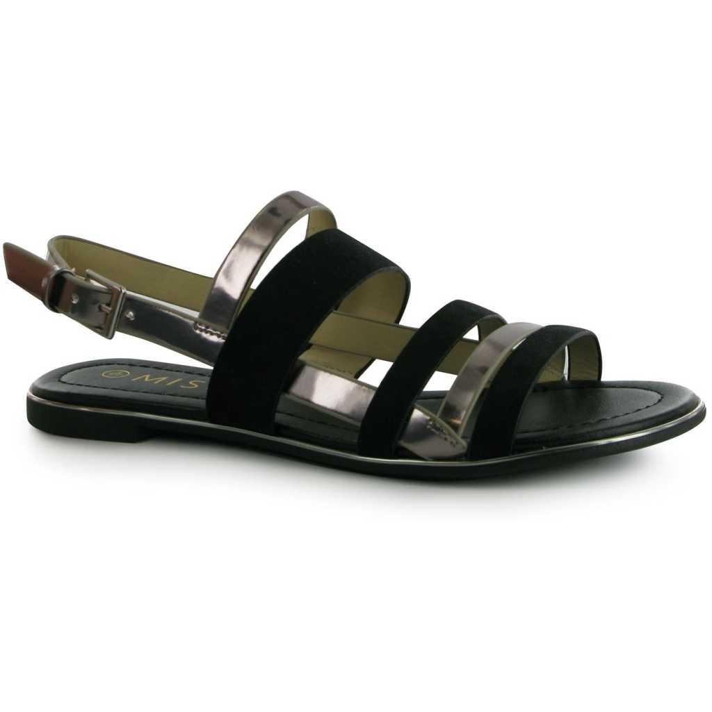 Sandale fara toc, cu batere late din piele ecologica, cu asp