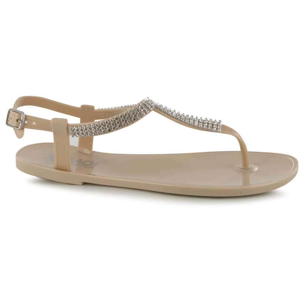 Sandale plate de culoare bej, cu strasuri-Beach Athletics