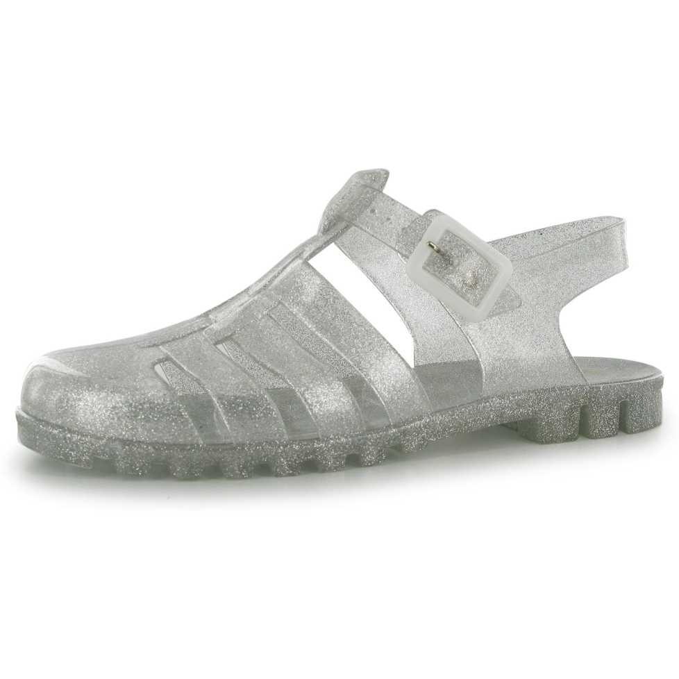 Sandale moderne, din cauciuc, de culoare argintie-Miso