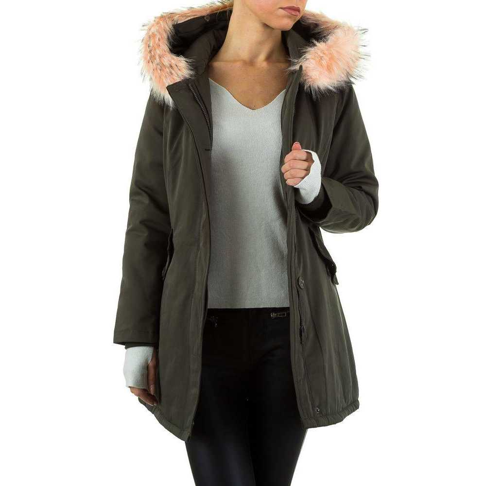 Jacheta dama moderna, de culoare kaki, cu gluga