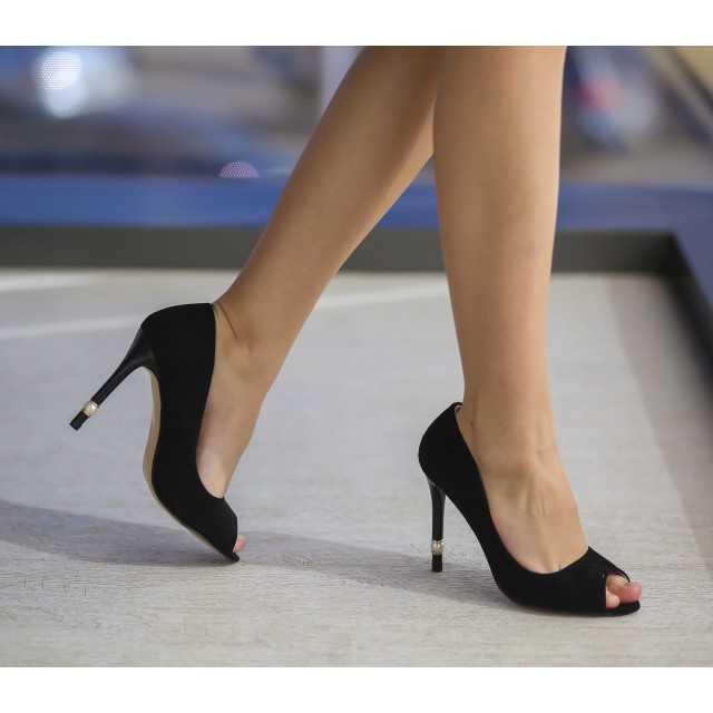 Pantofi cu toc Perly Negri