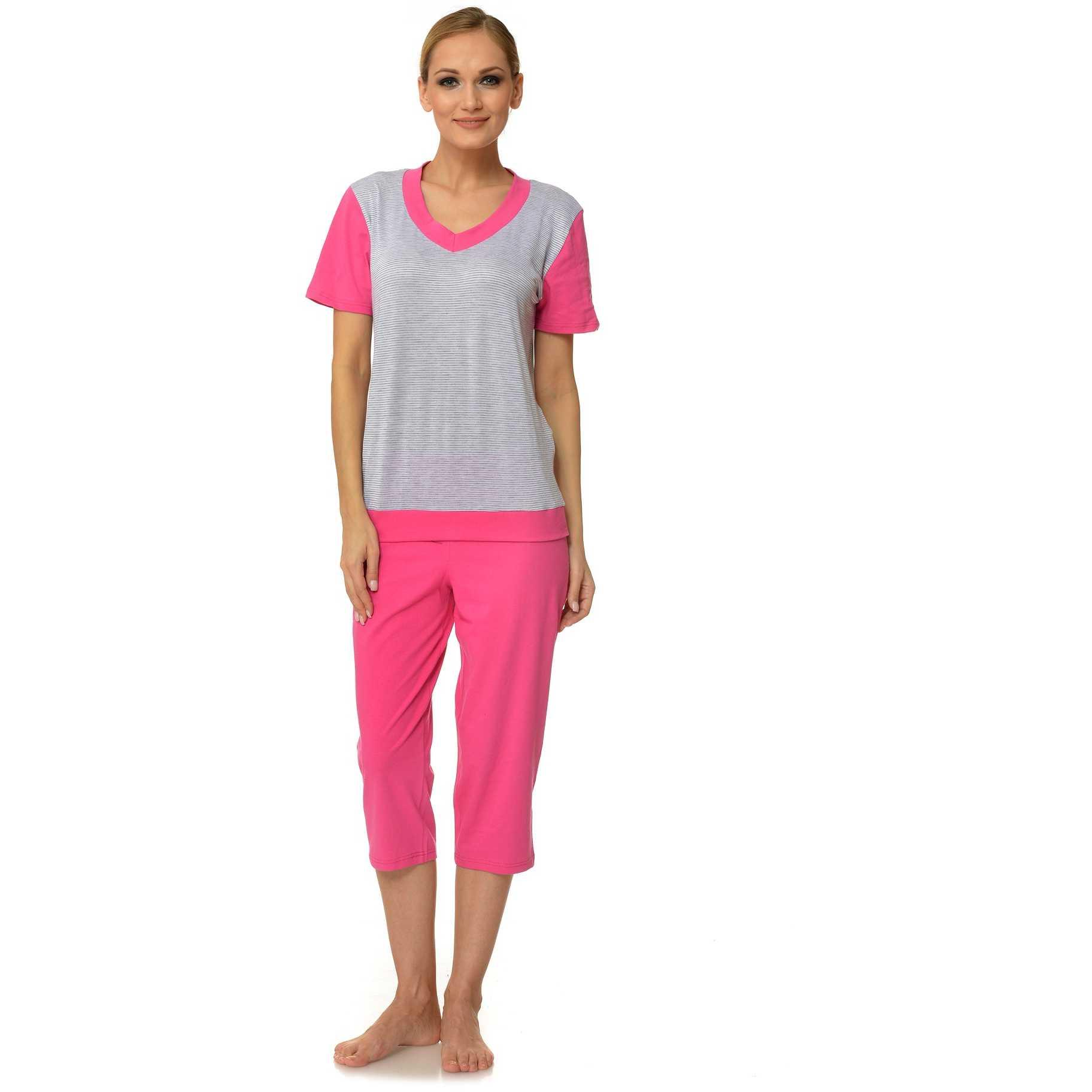 Pijama dama gri cu ciclam din bumbac P7047
