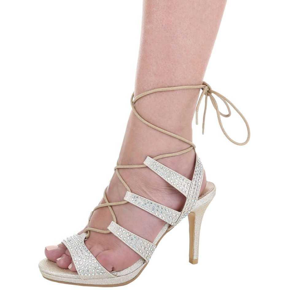 Sandale cu toc elegante, aurii, accesorizate cu strasuri