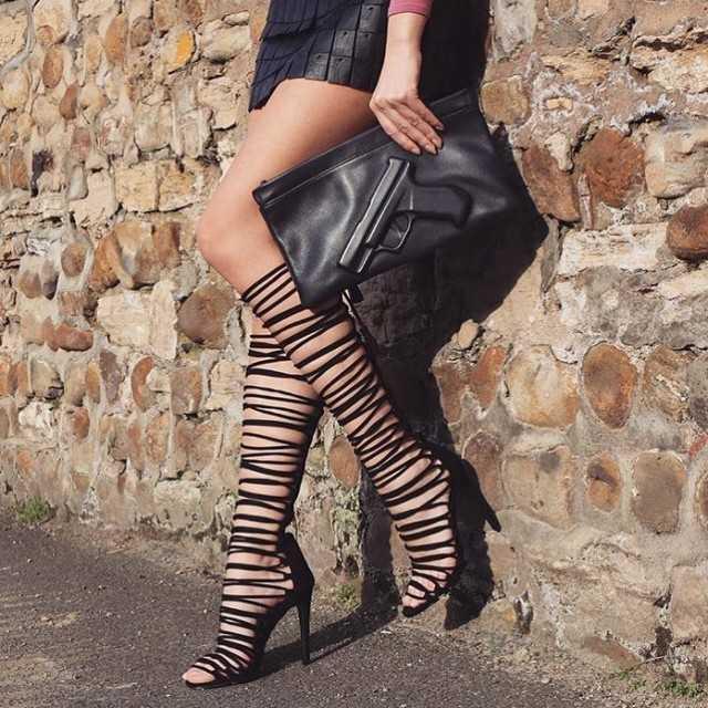 Sandale cu toc Furnel Negre