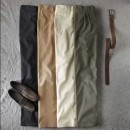 Pantaloni chino uni cu pense gabardina bumbac