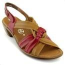 Sandale Ara, coniac cu rosu, din piele naturala, cu toc de 4.5 cm