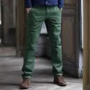 Pantaloni chino fara pense din gabardina de bumbac uni barbati