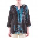 Bluza tunica negru cu albastru din bumbac B60