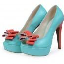 Pantofi peep-toe turquoise din piele naturala P75F