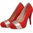 Pantofi rosii cu toc inalt din piele intoarsa P66NR