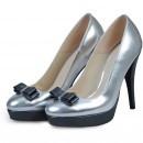 Pantofi argintiu cu gri cu toc inalt din piele naturala model P66PVF