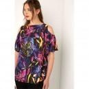 Bluza decupata la umeri, cu print floral pentru femei