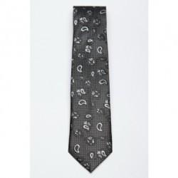 Cravata neagra cu model Paisley Negru EFF-302