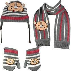 Set copii Fes Fular Manusi Ecko Unlimited Nino Bundle Beanie Gloves Scarf ETF11-6273 culoare gri