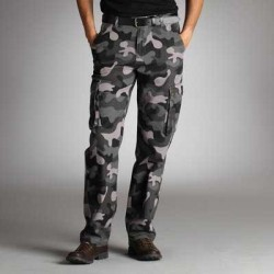 "Pantaloni stil ""grilaj"" de camuflaj gri pentru barbati"