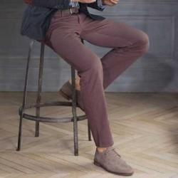 Pantaloni chino fara pense uni din gabardina pentru barbati