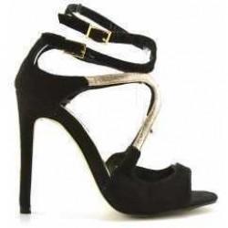 Sandale April Negre din piele intoarsa