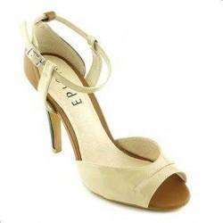 Sandale Epica bej din piele lacuita, cu toc de 10.5 cm