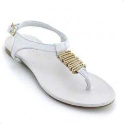 Sandale Inuovo albe, din piele naturala, cu aplicatie metalica aurie