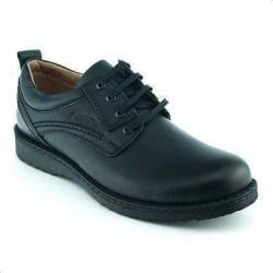 Pantofi Otter negri din piele naturala cu talpa aderenta si sireturisunt comozi, usori