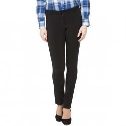 Pantaloni Modas negri cu dungi din jerse elastic model 217