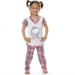 Pijama copii Kitty alb cu roz din bumbac PC8012