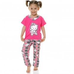 Pijama copii Kitty ciclam din bumbac PC8013