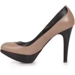 Pantofi bej cu negru cu toc inalt din piele naturala model P03
