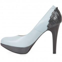 Pantofi bleu cu gri cu toc inalt din piele naturala model M41