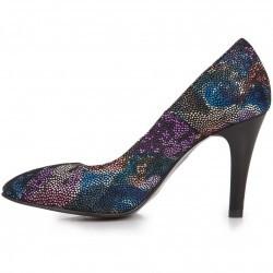 Pantofi multicolori stiletto din piele naturala model P1-3